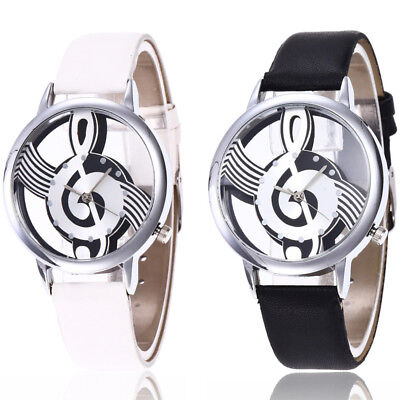 Stainless Steel Wrist Watch Music Leather Casual Men Charm Analog Quartz Women