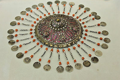 Ottoman Antique Original Silver Coral Bridal Head Piece