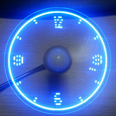 LED Clock USB Fan Powered Cooling Flashing Real Time Display Function Gadgets PC