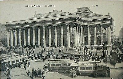 Postcard-Vintage Vehicles.paris.buses At La Bourse.rppc.great Image