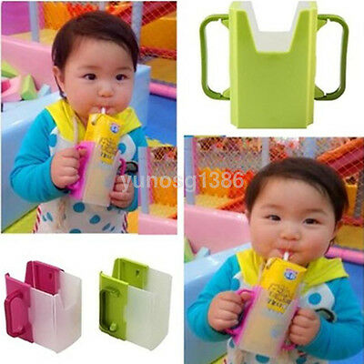 High Quality Baby Cup Holder Carton Milk Water Drinking Adjustable Container UK