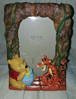 "Disney 8"" Resin Winnie The Pooh & Tigger Picture Frame - Free Standing GC"
