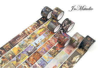 3 Rolls Artist Oil Painting Design Washi tape The artist 's Painting Print Tape