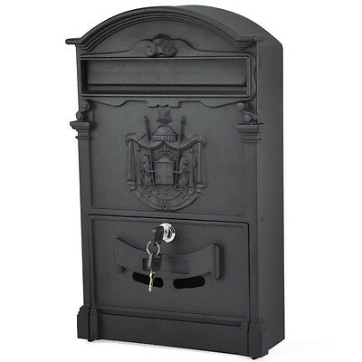 Vintage&Classical Black Letterbox Mailbox Letter Mail Post Box Wall Mounted