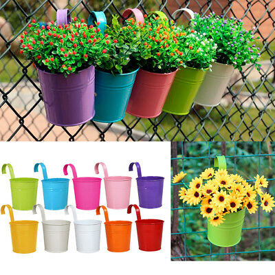 10pcs Set Metal Iron Flower Pot Hanging Balcony Garden Plant Planter Home Decor