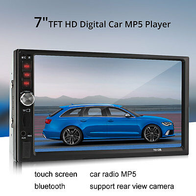 "Black Car Stereo 7"" Touch Screen Double 2 Din Radio FM/MP5 Bluetooth Player LCD"