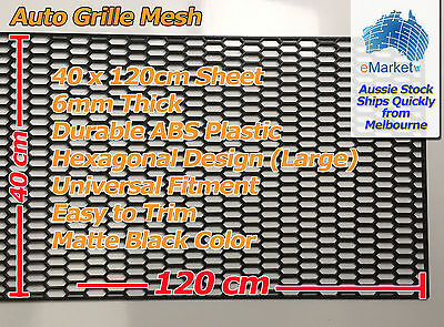1 x Sheet of Black ABS Plastic Grille Grill Mesh 120cm x 40cm Hex (Large) design