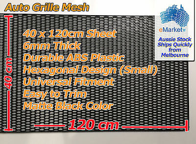 1 x Sheet of Black ABS Plastic Grille Grill Mesh 120cm x 40cm Hex (Small) design