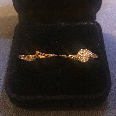 Solid Gold (9ct) Bridal Ring Set with Diamond (size R) RRP $699