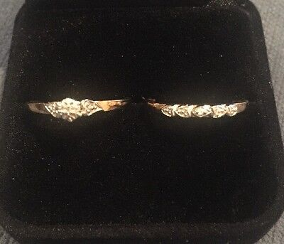 Solid Gold (9ct) Bridal Ring Set with Diamond (size N) RRP $300