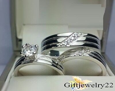 14K White Gold 1.42 Ct Diamond Trio Set Wedding Bridal Ring His Her Men Womens