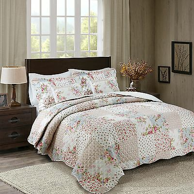 Floral Vintage Printed Patchwork Quilted Bedspread Throw with 2 Pillow Shams