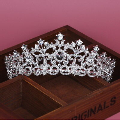 6cm High Silver White Flower Crystal Adult Tiara Crown Wedding Prom Party Pagean