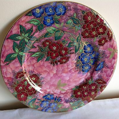 """Art Deco Maling Lustre Hand Painted Enamels """"Phlox"""" Pattern Charger Plates"""