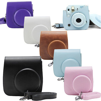 For Fujifilm Instax Mini 8 8+ 9 Polaroid Camera Leather Bag Shoulder Cover Case