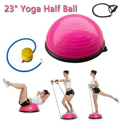 """23"""" Inch Balance Ball Yoga Exercise Fitness Trainer Gym W/ Resistance Bands Pump"""