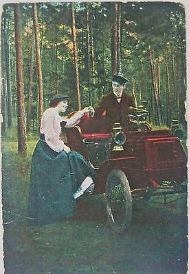 Postcard-Vintage Vehicles.a Romantic Meeting.1914.pmk Tamise 1914.holland