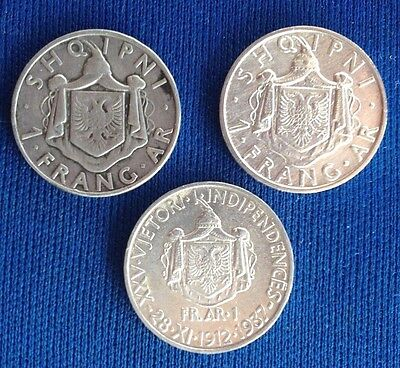 albania coins 1 frang ar 1935 - 1937, 25th independence, 3 pcs silver.