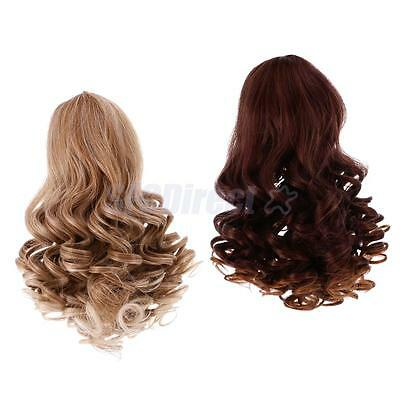 2pcs Wavy Curly Hair Wig Heat Safe for 18'' American Girl Doll DIY Gradient