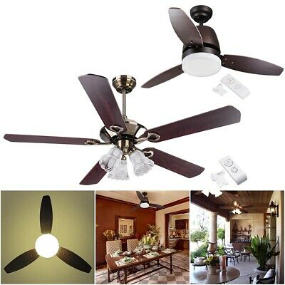"""42"""" 48"""" 52"""" Flush Mount Ceiling Fan Light Kit with Remote Control 3 or 5 Blades"""
