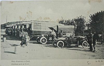 Postcard-Vintage Vehicles. Autobus Park At Creil.early Card.great Image