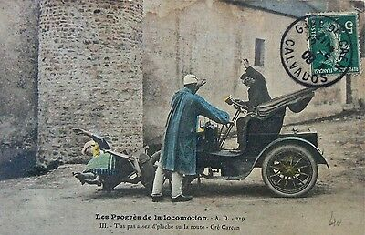 Postcard-Vintage Vehicles.the Progress Of The Car.postmarked Calvados France