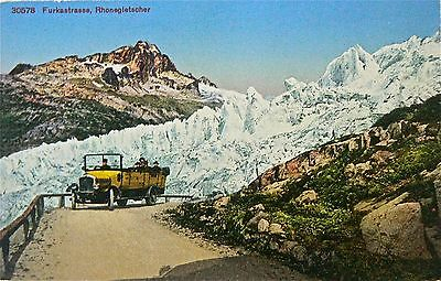 Postcard-Vintage Vehicles.great Car Transversing The Alps.circa 1915