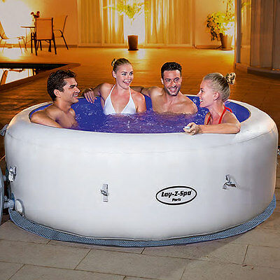 NEW 2016 Lay Z Spa Paris 4-6 Person Spa with 7-Colour LED Lights and Ground Mat