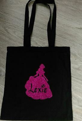 Glitter Princess Cotton Shopping Bag Novelty Perfect Personalised Gift Any Name