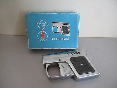 Vintage old Romania ECON FAGARAS Pistol PISTOLET petrol lighter + original box