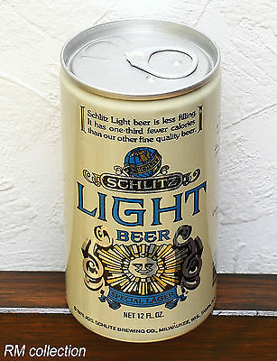 SCHLITZ LIGHT 1970s American beer can bottom opened