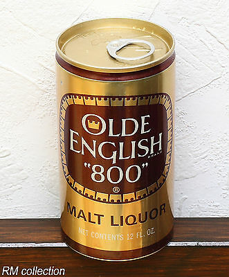 OLDE ENGLISH 800 malt liquor 1970s American beer can bottom opened