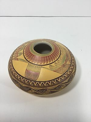"""2"""", Navajo Indian Pottery, Etched Pot, Buffalo marked"""