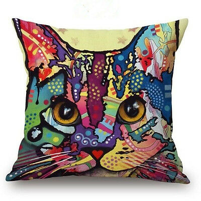 Cat #1 Throw Pillow Bright Colorful ANIMAL RESCUE DONATION