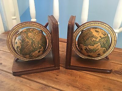 Pair Of Wooden Vintage Style Classic World Globe Bookends