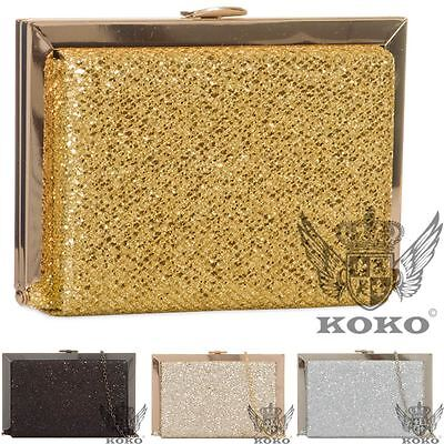 Ladies New Glitter Shimmer Hard Compact Evening Party Clutch Bag Purse