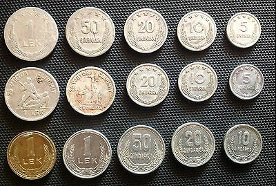 3 set 15 pcs coins  albania alumin 1964,1969,1988 used.