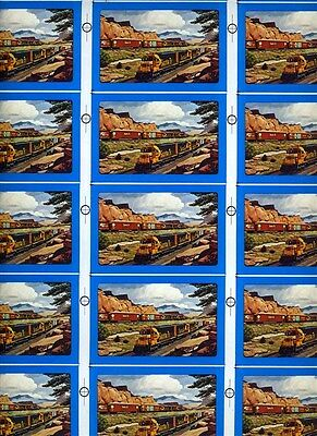 Sheet of Uncut Santa Fe Railroad Playing Cards Trains Passing in Scenic West
