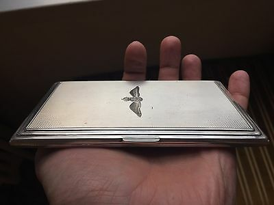English massive royal air force RAF solid Sterling Silver Cigarette Case 219g