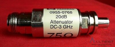 HP / Agilent 0955-0768 75 Ohm 20 db Fixed Attenuator, DC-3GHz