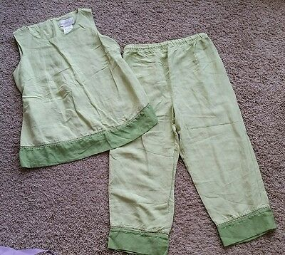 Motherhood Maternity Outfit size small S key lime green/tank/capri's/linen/rayon