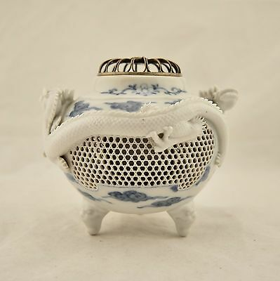 Meiji Japanese Hirado twin high relief dragon reticulated incense burner koro