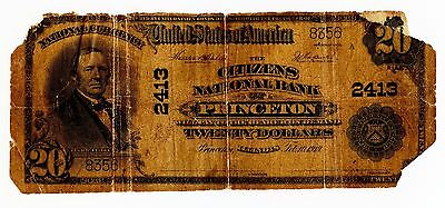 1902 $20 First National Bank of Princeton Twenty Dollar Note / Currency - MA28