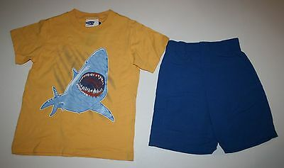 New Big Fish Boys 2 Pc Outfit Yellow Shark Top Tee & Blue Shorts Set 5 Year NWT