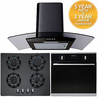 SIA 60cm Built In Electric Single Oven, Black Gas Hob & Curved Glass Cooker Hood