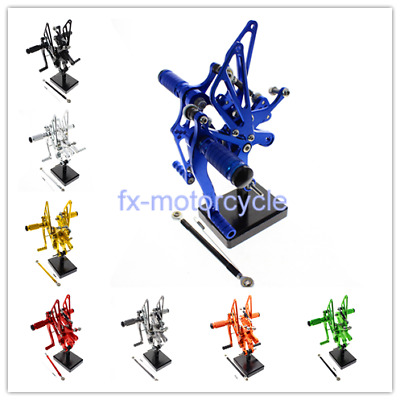 For YAMAHA YZF R6 99-02 CNC Footpeg Rearset Foot Peg Motorcycle Blue 2000 2001