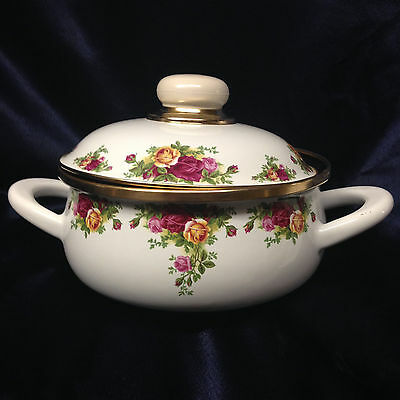 Royal Albert 2002 Old Country Roses 1.25 Quarts Metal Covered Casserole Dish