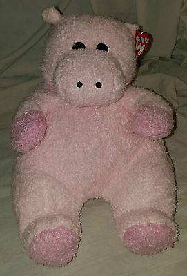 Hippobaby Ty Baby Beanie Rattle Hippo With Original Tags Stuffed Animal Plush