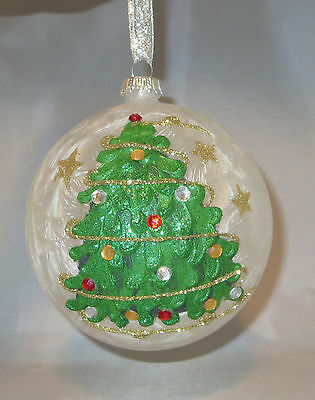 White Ornament Ball Glass Christmas Tree Crystal Accents Glittery Hand Painted