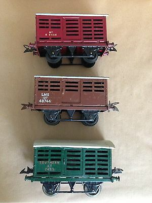 Three Hornby O gauge Cattle Wagons - Boxed.